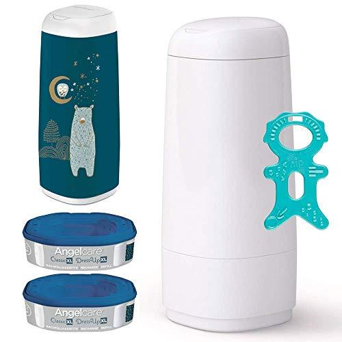 Angelcare® Dress-Up XL Starter-Set: Windeleimer + 2 Nachfüllkassette + Dress-Up Bezug XL Snow Bear