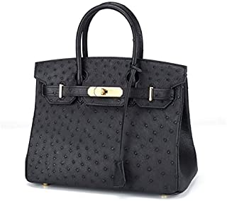 South African Ostrich Leather Handbags Bags Women New European and American Style Platinum Package Handbag (Color : Yellow)