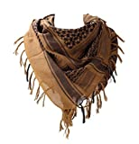 100 percent Cotton Military Shemagh Arab Tactical Desert Keffiyeh Thickened Scarf Wrap for Women and Men, Coyote Tan, One Size