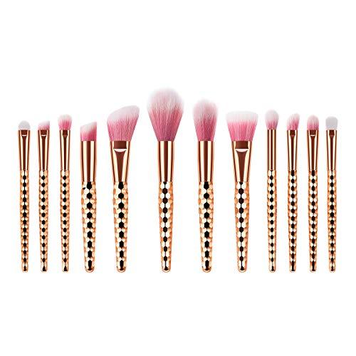 12pcs poignée en plastique poils de nylon doux or rose nid d'abeille maquillage pinceau cosmétique poudre blush pinceau kit pour femme (TM-110)