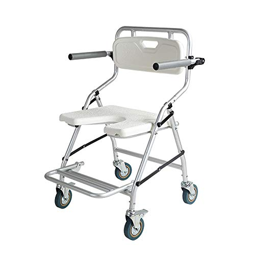 XINGYU Toilettenstuhl mit Rollen, Rollstuhl Fahrbarer Toilettenstuhl Duschstuhl Nachtstuhl auf Rollen Drehbar mit Feststellbremse, Geeignet für ältere Behinderte Schwangere Frauen