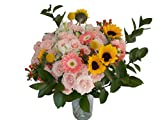 Edelweiss GJ Flowers Innocent Pink Spray Rose Bouquet 33 Stems, 24 Inches Long, with Vase (Fresh Cut Flowers)