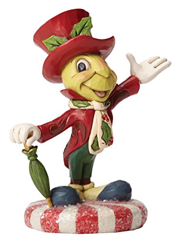 """Disney Traditions by Jim Shore Christmas Jiminy Cricket on Peppermint Stone Resin Figurine, 4.75"""""""