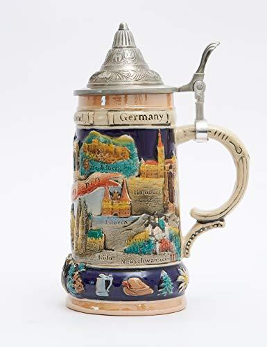Amoy-Art Boccale da Birra Tedesco Beer Stein Mug con Coperchio Germania Città per Regalo Giftbox 0.6Litre