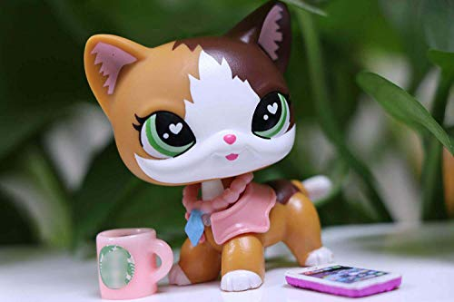 lpsloverqa Shorthair Cat Custom Made Flame Green Hearts Eyes Mascot with Accessories Lot Girls Kids Xmas Gift