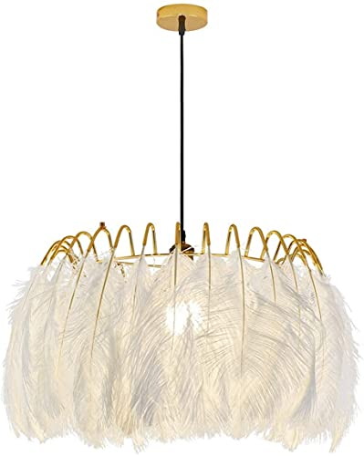 Bkrred Lámpara de Techo Nordic Simple Chandelier Blanco Pluma Sombra de Oro Color Oro Cause Individual Cabeza E27 Lámpara Colgante Luz Colgante de Techo para Sala de Estar Bar Cafe