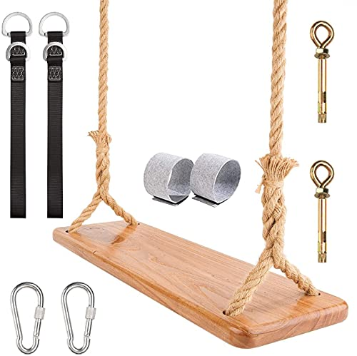 Wooden Swing Yangbaga Hanging Tree Swings, WoodSwings Seat 23.6 x7.7 x1  to Adult Kids Children with Adjustable Hemp Rope plus Tree Straps 86.6-126inch and 2 Carabiner Hooks-for Park or Home for Kids