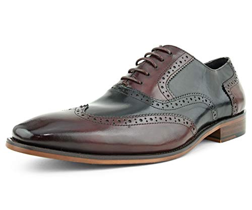 Asher Green AG100 - Men's Dress Shoes - Genuine Calf Leather Wingtip Oxfords - Two Tone and Multi Tone Mens Dress Shoes, Burgundy, Size 14