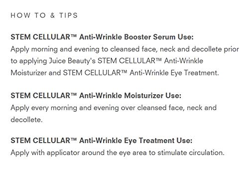 Juice Beauty Stem Cellular Anti-Wrinkle Solutions Kit - Age Defying Daily Skincare Set with Facial Serum, Face Moisturizer and Eye Cream Treatment - Made with Organic Ingredients (3 Products) 2