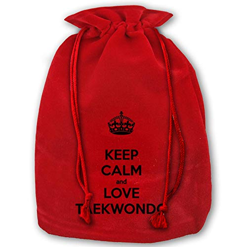 Keep Calm Love Taekwondo Velvet Cloth Drawstring Pouches Jewelry Bags Tarot Rune Card Dice Bags Christmas Party Wedding Favors Candy Gift Bags for Thanksgiving Birthday Taekwondo 14 x 18 in