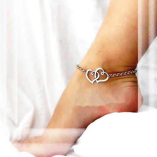 Bazhahei Ajorca Para El Tobillo Double Heart Anklet Nueva JoyeríA de Doble CorazóN Cadena de Playa Sexy Sandalia Tobillera Tobillo Pulsera