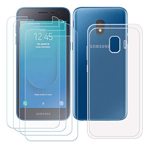 szjckj Funda para Samsung Galaxy J2 Core + 4 x Protector de Pantalla, Case Cover Carcasa Bumper Transparente Clear TPU Silicone Cristal Vidrio Templado para Samsung Galaxy J2 Core (5,0