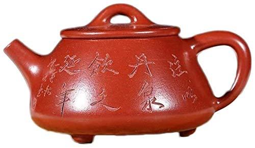 Hierro Fundido Conjunto electrónico del multímetro de Zisha Yixing Pot Juego de té de Piedra de la Cucharada de Letras Kungfu Tetera Arena Pot (Color: Rojo Grande de la Bolsa) la decoración del hogar