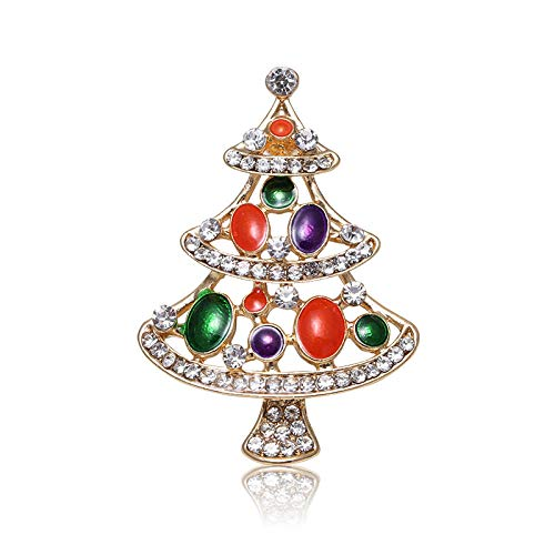 JKDFGJ Fashion Tree Crystal Luxury Rhinestone Enamel Brooches Ladies Colorful Gift Jewelry Flower Brooch Plant Pins