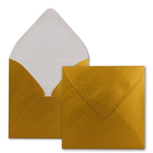 Quadratische Brief-Umschläge - Farbe Gold Metallic - 50 Stück - 15,5 x 15,5 cm - Nassklebung - Für Einladungen & Hochzeit - Serie FarbenFroh®