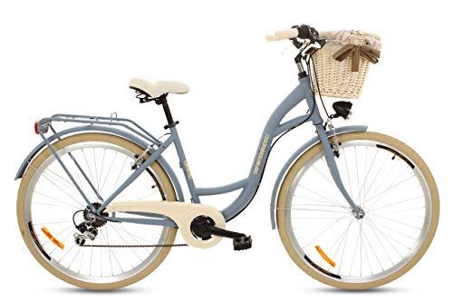 Goetze Damenfahrrad 28 Zoll 6 Gang Damen Citybike Stadtrad Damenrad Hollandrad Retro-Design Weidenkorb LED-Beleuchtung Denimblau