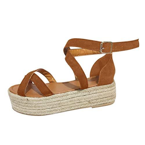 Women's Platform Sandals Summer Open Toe Ankle Strap Trendy Espadrille Wedge Sandal Casual Criss Cross Roman Shoes (Brown, US:5)