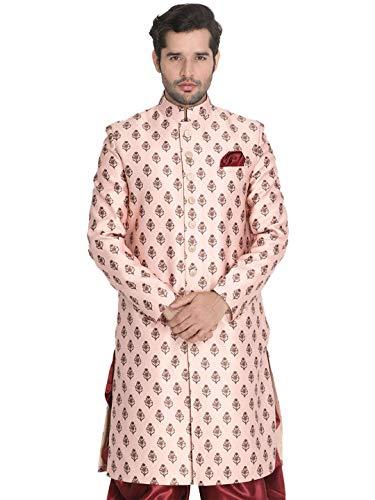 Vastramay Men's Apricot Peach Cotton Silk Blend Sherwani Only Top