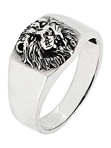 TreasureBay Anillo de león de plata de ley 925 maciza para hombre plateado