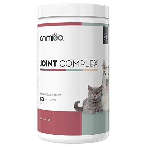 Animigo Joint Complex para Gatos y Perros | Suplemento Natural para el Cuidado de Articulaciones y Huesos | con Levadura de Cerveza, Glucosamina y Condroitina | Omega 3 | 60 Masticables Blandos