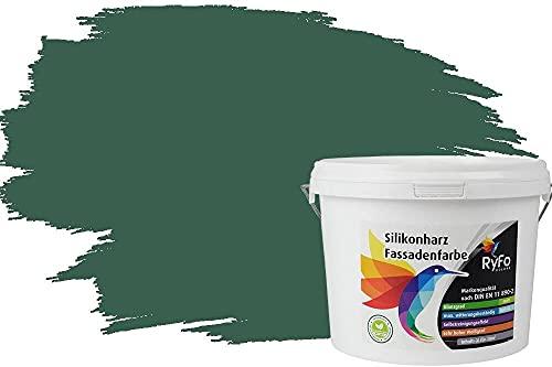 RyFo Colors Silikonharz Fassadenfarbe Lotuseffekt Trend Tannengrün 3l - bunte Fassadenfarbe, weitere Grün Farbtöne und Größen erhältlich, Deckkraft Klasse 1
