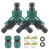 Gartenschlauch-Splitter-Set, 2-Wege-Schlauchverbinder, Y-Ventil, Wasserhahn-Splitter mit Steuerventil mit 2 Schlauchenden, Schnellverbinder, 4 verstellbare Schlauchschellen und 2 Unterlegscheiben