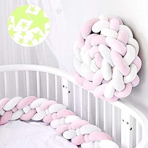 ACTENLY 220cm Baby 4 Weben Babybett Bettumrandung Nestchen Stoßstang Kantenschutz Kopfschutz für Kinderbett Bettumfang (weiß rosa & 50 Stück Leuchtende Sterne Wandtattoo)