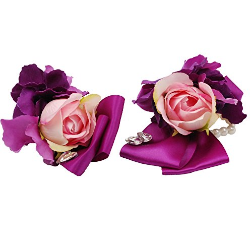 Abbie Home Lavender Rose Peony Wrist Corsage Boutonniere Brooch Pin Set - Prom Party Wedding Ceremony Flowers (Set 616)