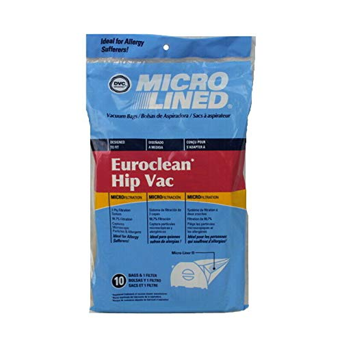 DVC Euroclean Hip Vac Micro Allergen Vacuum Cleaner Bags Made in USA [ 15 Bags ]