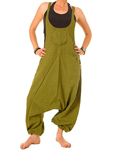 Vishes - Alternative Bekleidung - Baumwoll Latzhose Haremshose Overall olivgrün 34-36