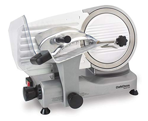 Chef'sChoice 672 Professional Electric Food and Meat Slicer Tilted Design for Fast and Efficient Slicing, Silver, One Size, Gray