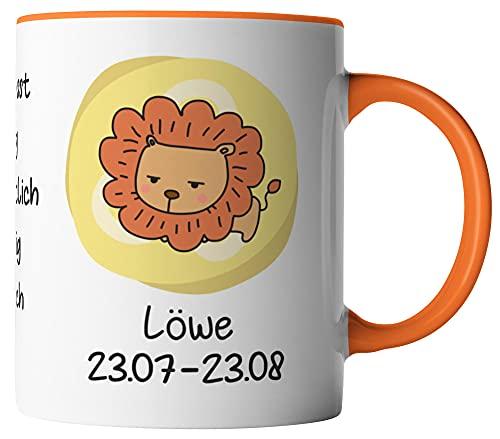 vanVerden Tasse - Cartoon Comic Horoskop Sternzeichen Löwe 23.07. - 23.08. - beidseitig Bedruckt - Geschenk Idee Kaffeetassen, Tassenfarbe:Weiß/Orange