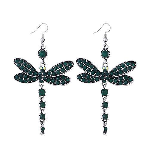 YAZILIND Vintage rhinestone libélula colgante de la gota étnica cuelgan pendientes de las mujeres joyas de regalo (verde)