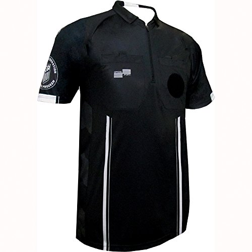 New USSF Men's Pro Soccer Referee Jersey Black SS Shirt (Black Large)
