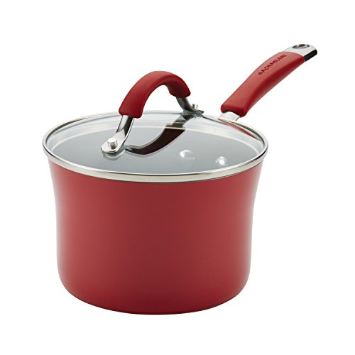 Rachael Ray Cucina Nonstick Sauce Pan/Saucepan with Lid, 2 Quart, Red