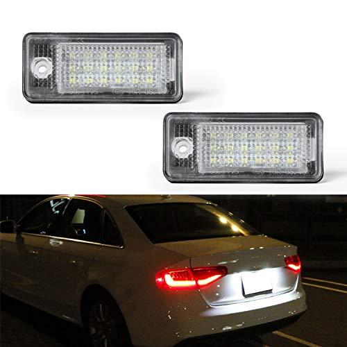 OZ-LAMPE Number Plate Light 2 x LED Rear License Plate Lamps 3528 SMD with CAN-bus Error Free Waterproof Rear Lamps Assembly For A3 S3 A4 S4 RS4 A5 A6 C6 A8 S8 Q7 RS4 RS6