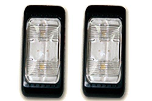 Lalizas Set de 2 plafonniers/feux de remorque à LED.2 LEDs, 12V&24V, embase noire