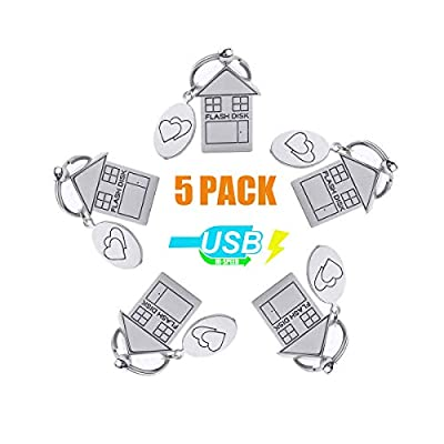 ANGROC 5PCS Folding Metal House Shaped USB 2.0 8GB USB Flash Drive Memory Stick Fold Storage Stick Pen(Pack of 5, Silver)