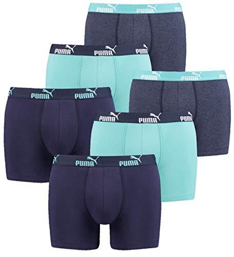 PUMA Herren Cat Promo Boxer Basic Number1 6er Pack Aqua Blue, Größe:S