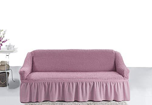 My Palace Giorgia Sofabezug 3-Sitzer Rutschfester Sofaüberwurf Couchcover Sofa Überwurf elastische Sofahusse Couchbezug Sofaschonbezug 180-220cm Rosa