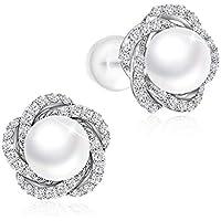 Pearlove Women 6MM Pearl Stud Earrings