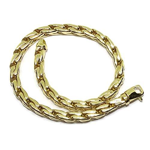Original pulsera para hombre cuadrada de oro amarillo de 18k de cadena hueca estilo cardano de 22,00cm de larga y 4mm de ancha. Peso; 9.75gr de oro de 18k