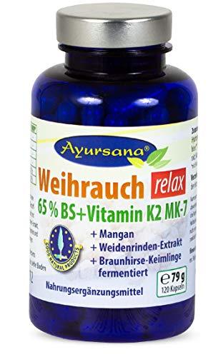Ayursana - Weihrauchkapseln relax Boswellia Serrata mit Vitamin K2, Mangan und Braunhirse, mit indischem Weihrauch (120 Stück)