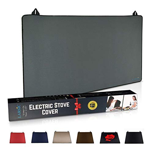Larsic Stove Cover - Protects Electric Stove Washer Dryer Top. Anti-Slip Coating Waterproof Stove Gap Foldable Prevent Scratching, Expands Usable Space (36X21, Grey)