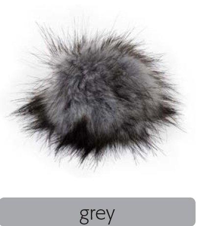 Fell Pompon mit Druckknopf (keinTierfell) - grey - Durchmesser 10cm - für individuelle Designs!