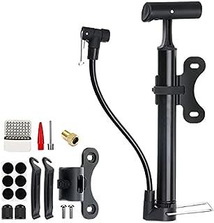 Bike Pump, Portable Bicycle Tire Pump, 130 Psi Bike Air Pump Fits Presta & Schrader Valve, Comes with Tire Repair Tool, Ga...