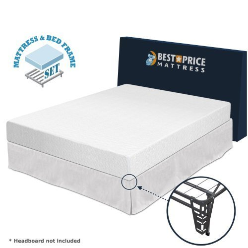 "Best Price Mattress 8"" Memory Foam Mattress + Bed Frame Set - Queen - No Box Spring Needed"