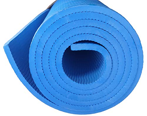 Officeforce Yoga Mat| 8mm/6mm High Density Rubber Anti Skid, Light Weight, Compact Eva Exercise Gym Flooring Mat With Carry Bag| Ideal For Yoga, Cardio, Aerobics, Gymnastics & Health & Fitness Men, Women & Kids (Blue)