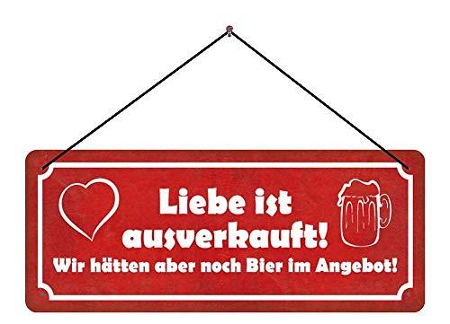Deko7 blikken bord met koord 27 x 10 cm Spreuk: Liefde is uitverkocht! Maar we hebben nog bier