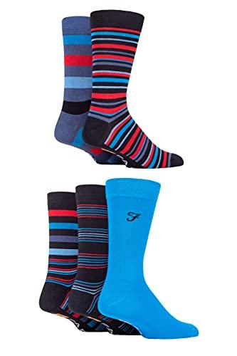 Farah Super Soft Bamboo Socks 5 Pack Stripe Navy Blue